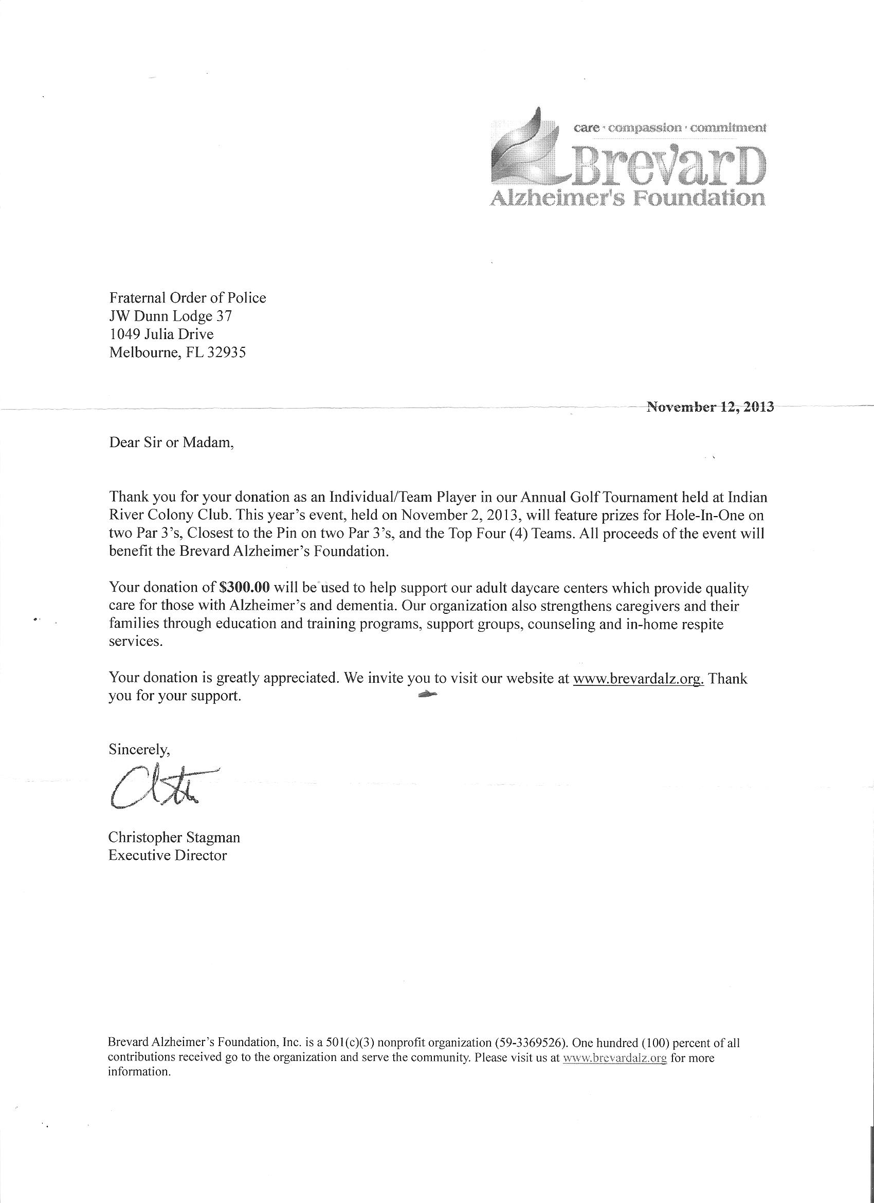 Brevard County – Sponsorship Thank You Letter